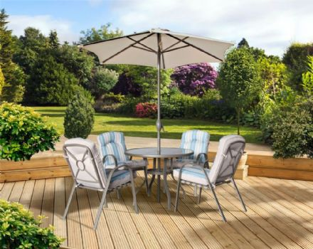 Pagoda Roma Dining Set With Parasol - 4 Seat